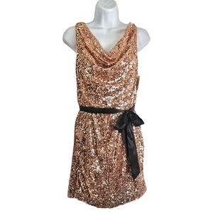 🆕Aidan Mattox Rose Gold Sequin Sheath Dress NWT!